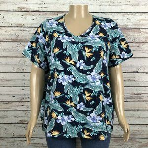 Catherines Blue Hawaiian Tropical Floral T-shirt